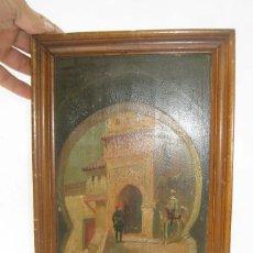 Arte: PINTURA MUY ANTIGUA OLEO SOBRE TABLA PUERTA DE CEUTA ARCO TETUAN MEZQUITA DARKANA MARRUECOS. Lote 124565159