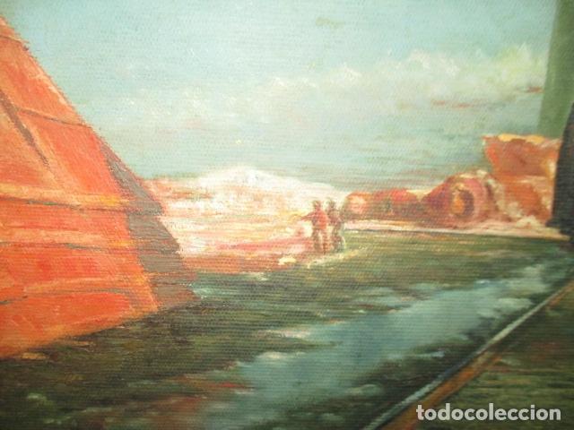Arte: Precioso oleo sobre tela de pintor ATANA - año 1960. 103 cm x 84 cm - Foto 6 - 124568847