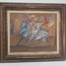 Arte: HORACIO SILVA , CUADRO ORIGINAL PINTADO A MANO OLEO SOBRE LIENZO, AÑO 88. HOMBRE CABALLO Y SERPIENTE. Lote 124599435