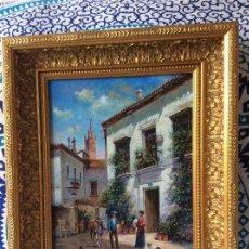 Kunst - ESCENA COSTUMBRISTA SEVILLA. ÓLEO SOBRE TABLA. SANCHEZ MANSO. PINTURA ANDALUZA ESPAÑOLA - 125136887