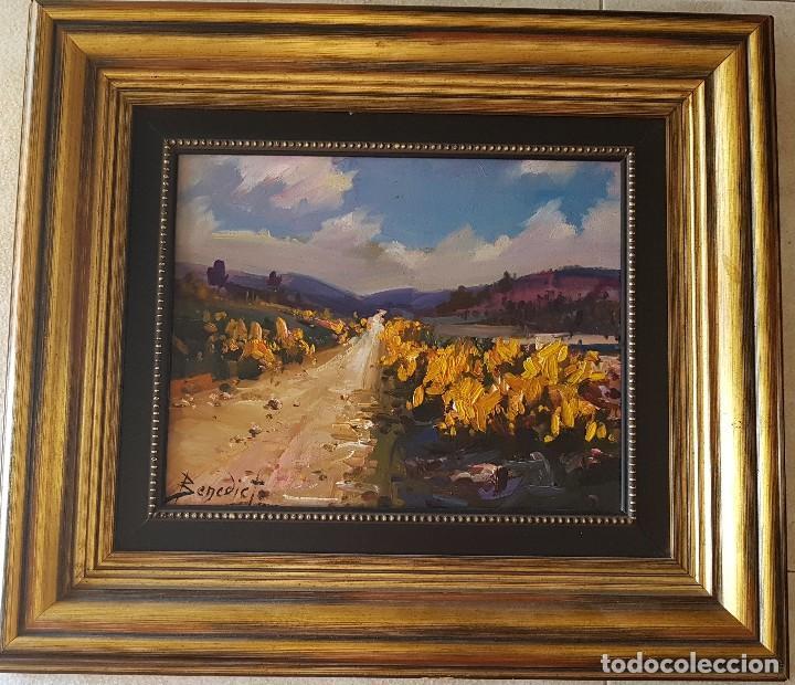 == H03 - BONITO OLEO - PAISAJE SIERRA DE ALBARRACIN 1984 - FIRMADO BENEDICTO - 30 X 24 SIN MARCO (Arte - Pintura - Pintura al Óleo Contemporánea )