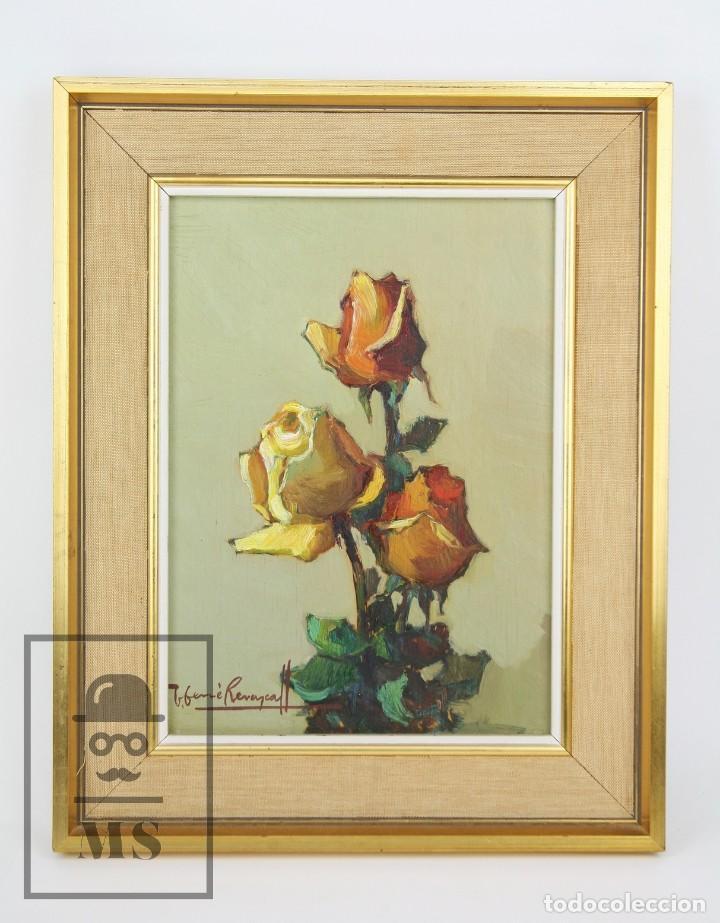PINTURA AL ÓLEO SOBRE TÁBLEX ENMARCADA - JOSEP FERRÉ REVASCALL. BODEGÓN DE ROSAS - REUS, AÑO 1976 (Arte - Pintura - Pintura al Óleo Contemporánea )