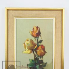 Arte: PINTURA AL ÓLEO SOBRE TÁBLEX ENMARCADA - JOSEP FERRÉ REVASCALL. BODEGÓN DE ROSAS - REUS, AÑO 1976. Lote 125291951