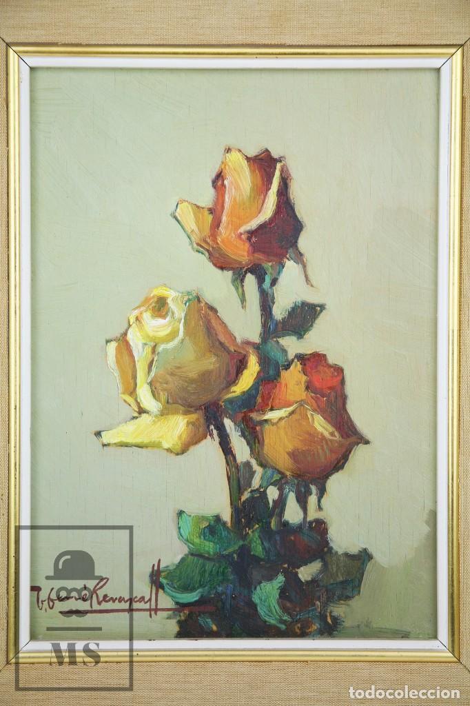 Arte: Pintura al Óleo Sobre Táblex Enmarcada - Josep Ferré Revascall. Bodegón de Rosas - Reus, Año 1976 - Foto 2 - 125291951
