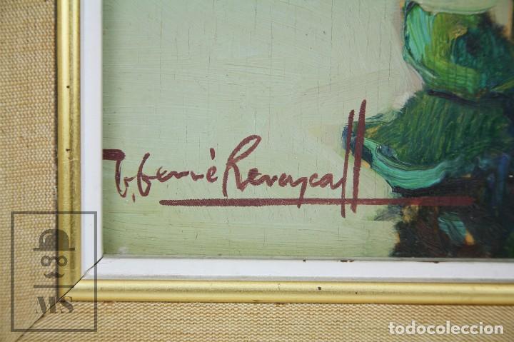 Arte: Pintura al Óleo Sobre Táblex Enmarcada - Josep Ferré Revascall. Bodegón de Rosas - Reus, Año 1976 - Foto 3 - 125291951