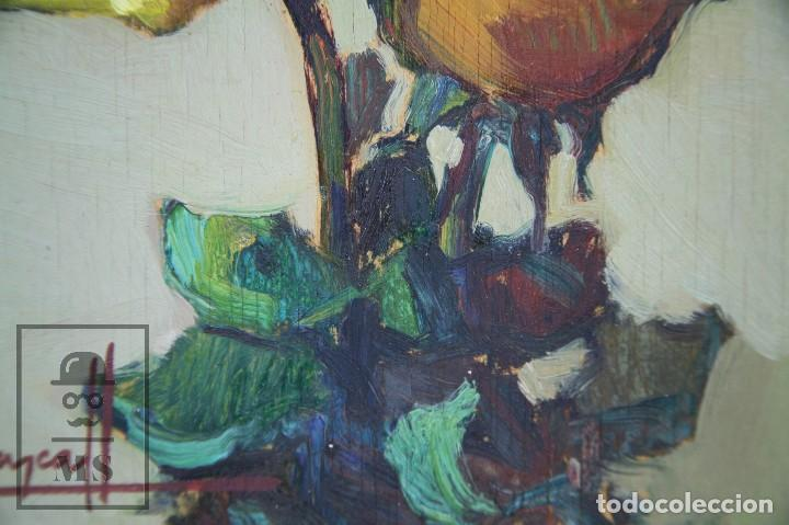 Arte: Pintura al Óleo Sobre Táblex Enmarcada - Josep Ferré Revascall. Bodegón de Rosas - Reus, Año 1976 - Foto 4 - 125291951