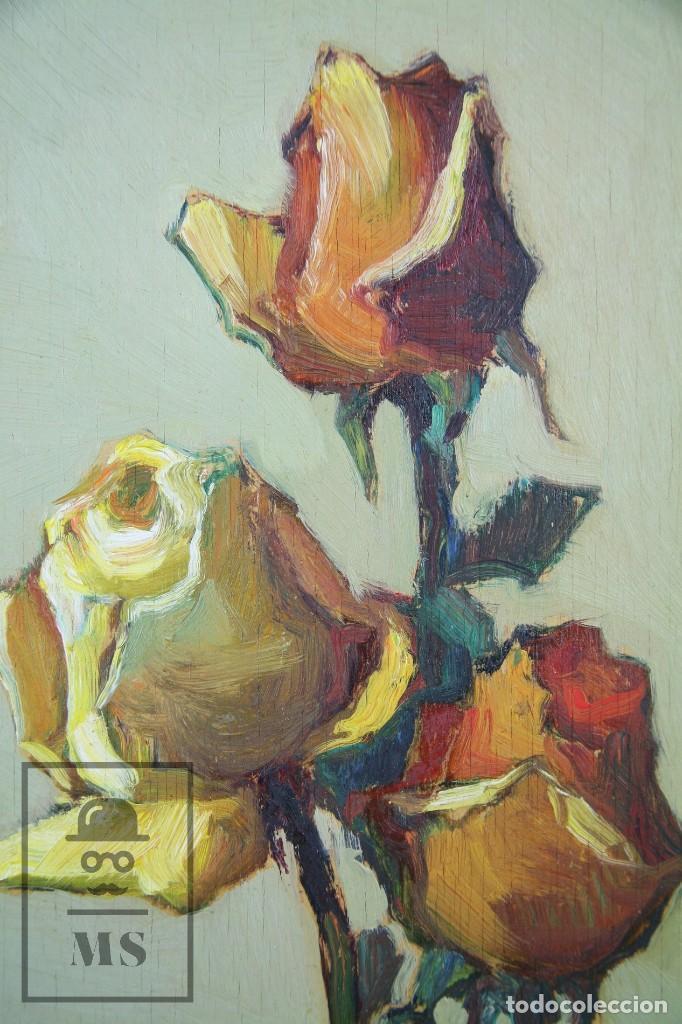 Arte: Pintura al Óleo Sobre Táblex Enmarcada - Josep Ferré Revascall. Bodegón de Rosas - Reus, Año 1976 - Foto 5 - 125291951