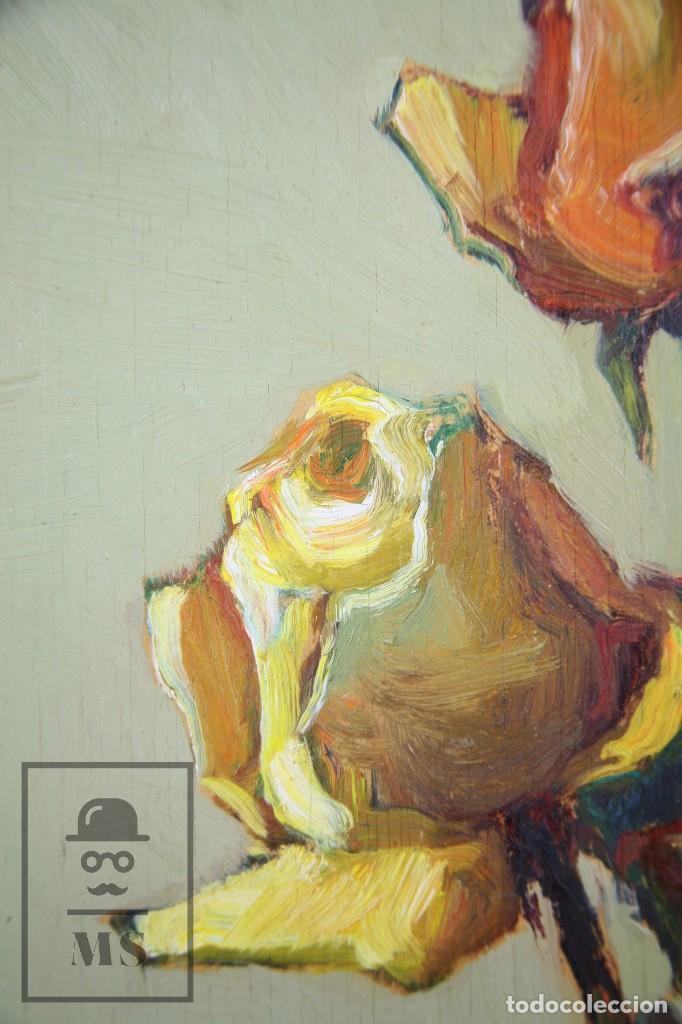 Arte: Pintura al Óleo Sobre Táblex Enmarcada - Josep Ferré Revascall. Bodegón de Rosas - Reus, Año 1976 - Foto 6 - 125291951