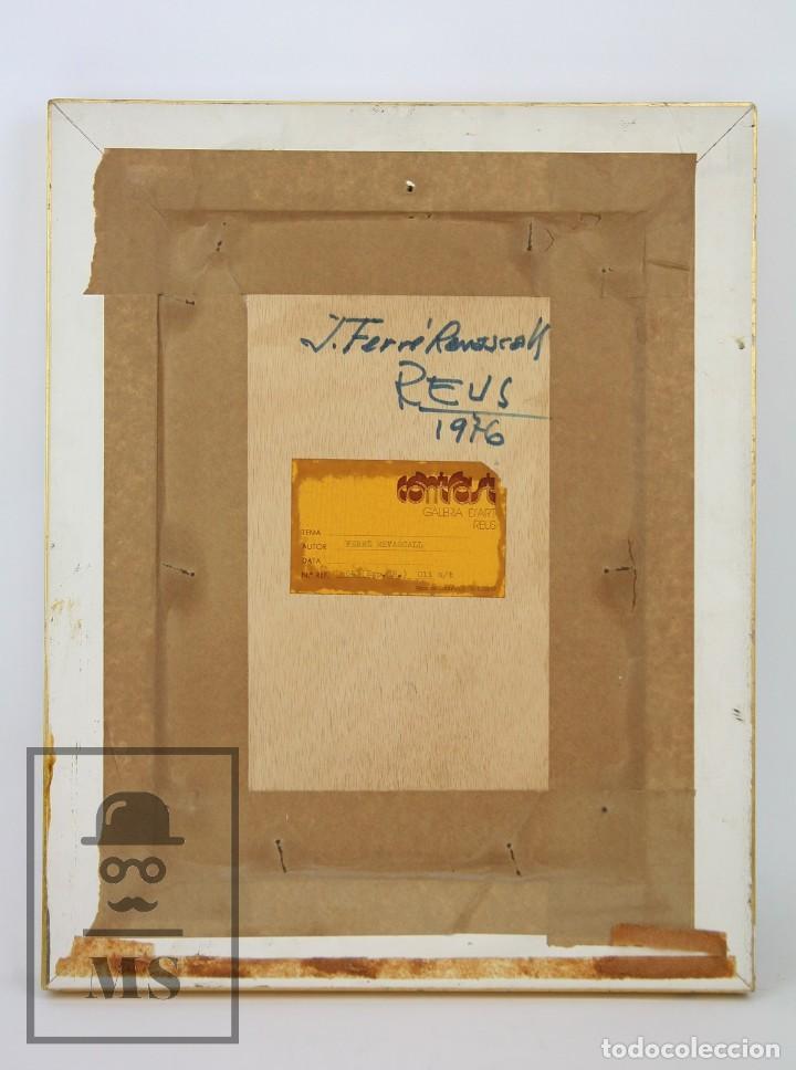 Arte: Pintura al Óleo Sobre Táblex Enmarcada - Josep Ferré Revascall. Bodegón de Rosas - Reus, Año 1976 - Foto 7 - 125291951
