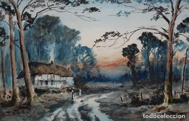 EXCELENTE ACUARELA ORIGINAL DEL SIGLO XIX - PAISAJE DE ATARDECER (Arte - Pintura - Pintura al Óleo Moderna siglo XIX)