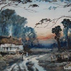 Arte: EXCELENTE ACUARELA ORIGINAL DEL SIGLO XIX - PAISAJE DE ATARDECER. Lote 48521398
