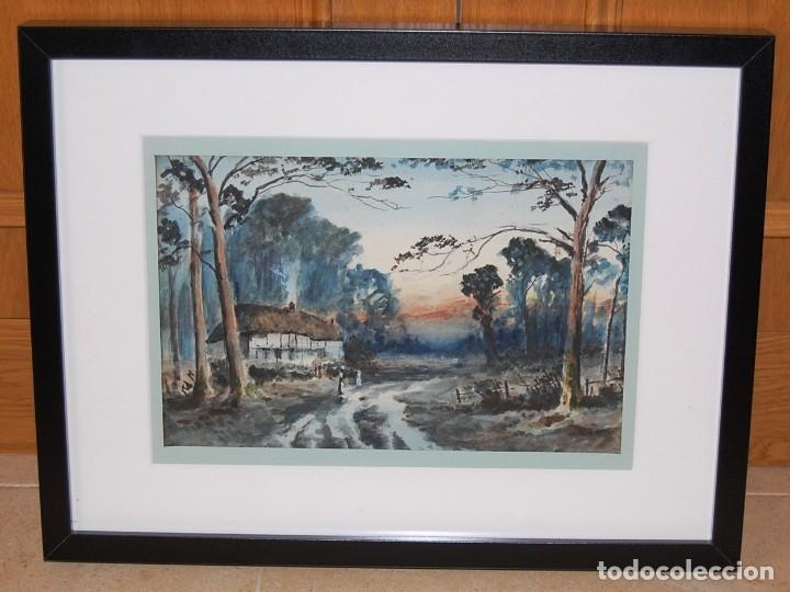 Arte: Excelente acuarela original del siglo XIX - Paisaje de atardecer - Foto 2 - 48521398