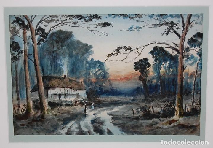 Arte: Excelente acuarela original del siglo XIX - Paisaje de atardecer - Foto 3 - 48521398