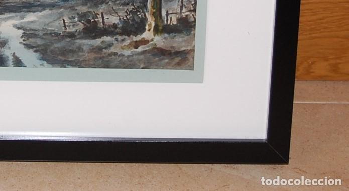 Arte: Excelente acuarela original del siglo XIX - Paisaje de atardecer - Foto 4 - 48521398