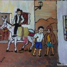 Arte: PLATERO Y YO. JUEGOS DEL ANOCHECER(C-III) ÓLEO SOBRE MADERA DE 30X40 CM. ,AUTOR CRESPO. Lote 125560955
