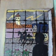 Arte: PLATERO Y YO.- LA TORMENTA,(CAP-LXXI)ÓLEO SOBRE MADERA DE 30X40 CM. AUTOR CRESPO. Lote 125564139