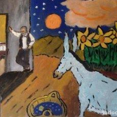 Arte: PLATERO Y YO.-LA LUNA(CAP.LXXVIII)ÓLEO SOBRE MADERA DE 30X40 CM. AUTOR CRESPO. Lote 125570811