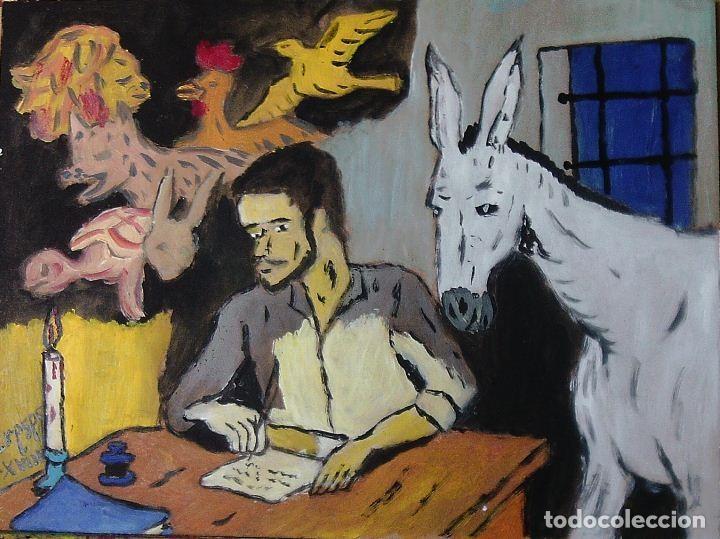 PLATERO Y YO.-LA FÁBULA (CAP.CXXV) ÓLEO SOBRE MADERA DE 30X40 CM. AUTOR CRESPO (Arte - Pintura Directa del Autor)