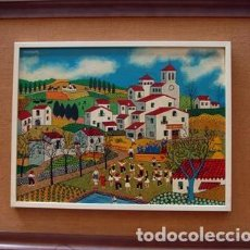 Arte: JUAN BLANCAFORT - FIESTA CAMPESTRE CON VISTA DE PUEBLO, ORQUESTA Y SARDANAS. Lote 125999440