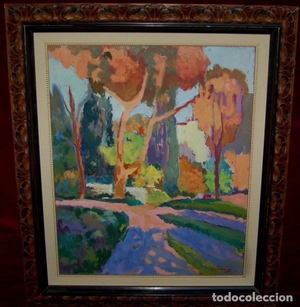 Arte: Ramon Sanvisens, jardines oleo sobre lienzo 65x54, firmado y enmarcado - Foto 11 - 122105150