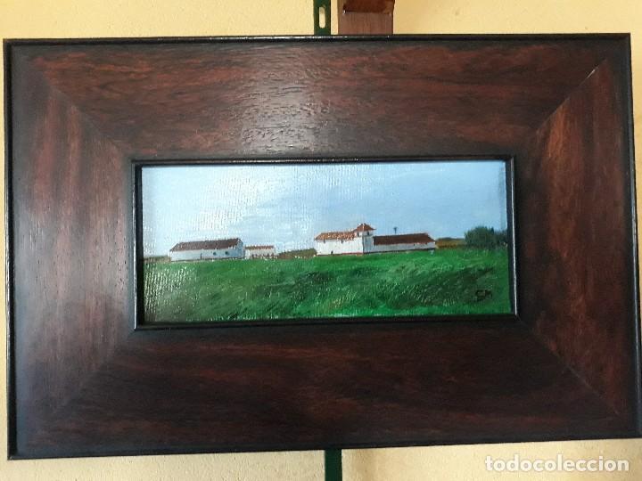 Arte: Oleo sobre tabla enmarcado,Paisaje andaluz.Medidas 40 x 26 con marco; 24 x 10 cm la pintura - Foto 2 - 126090231