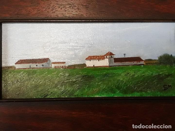 Arte: Oleo sobre tabla enmarcado,Paisaje andaluz.Medidas 40 x 26 con marco; 24 x 10 cm la pintura - Foto 3 - 126090231