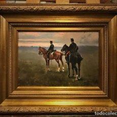 Arte: MAGNIFICA PAREJA DE ESCENAS DE CABALLERIA. Lote 126205891