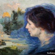 Arte: JOSEP MARIA TAMBURINI (BARCELONA, 1856-1932) OLEO SOBRE CARTON. DAMA DE PERFIL CON PAISAJE DE FONDO. Lote 126213107