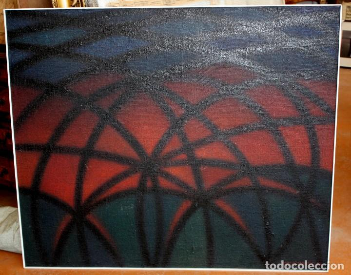 Arte: JOAN ABELLÓ MARTÍN (BCN 1920 - 2007) OLEO TABLA AÑO 1966. TITULADO HOMENAJA A GAUDÍ - Foto 2 - 126397695