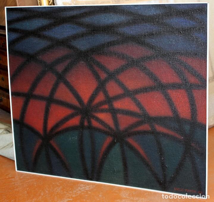 Arte: JOAN ABELLÓ MARTÍN (BCN 1920 - 2007) OLEO TABLA AÑO 1966. TITULADO HOMENAJA A GAUDÍ - Foto 3 - 126397695