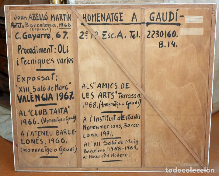 Arte: JOAN ABELLÓ MARTÍN (BCN 1920 - 2007) OLEO TABLA AÑO 1966. TITULADO HOMENAJA A GAUDÍ - Foto 7 - 126397695