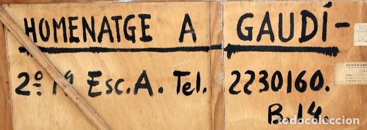 Arte: JOAN ABELLÓ MARTÍN (BCN 1920 - 2007) OLEO TABLA AÑO 1966. TITULADO HOMENAJA A GAUDÍ - Foto 8 - 126397695