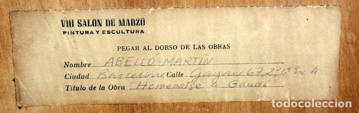 Arte: JOAN ABELLÓ MARTÍN (BCN 1920 - 2007) OLEO TABLA AÑO 1966. TITULADO HOMENAJA A GAUDÍ - Foto 11 - 126397695