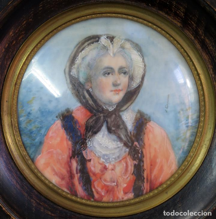 Arte: Miniatura pintado al óleo retrato dama firmada J Canovas siglo XIX - Foto 2 - 126437679
