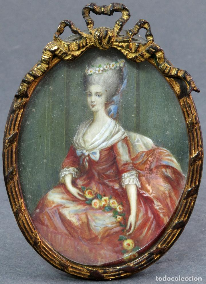 MINIATURA PINTADA AL ÓLEO RETRATO DAMA CON MARCO DE BRONCE LUIS XVI HACIA 1800 (Arte - Pintura - Pintura al Óleo Moderna siglo XIX)