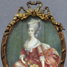 Arte: MINIATURA PINTADA AL ÓLEO RETRATO DAMA CON MARCO DE BRONCE LUIS XVI HACIA 1800. Lote 126451087