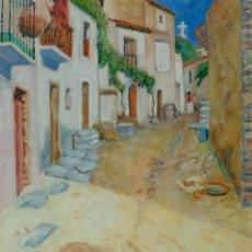 Arte: ÓLEO SOBRE LIENZO CALLE DE PUEBLO FIRMADO L. CARBO 1992. Lote 126488783