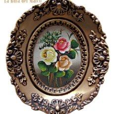 Kunst - Flores - Cuadro pequeño ovalado - Óleo sobre tablero - 126491819