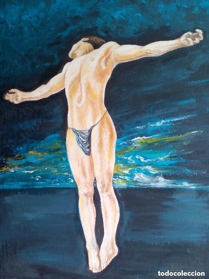 Arte: copia de dali,pintura sobre tela. - Foto 2 - 126498083