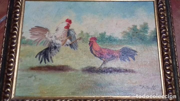 ENRIQUE MONTES. PELEA DE GALLOS. ÓLEO SOBRE TABLA. 46X33. MARCO GRATIS. (Arte - Pintura - Pintura al Óleo Contemporánea )
