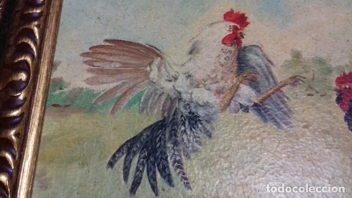 Arte: ENRIQUE MONTES. PELEA DE GALLOS. ÓLEO SOBRE TABLA. 46X33. MARCO GRATIS. - Foto 2 - 126533503