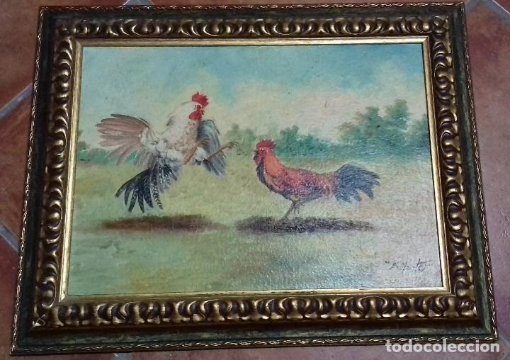 Arte: ENRIQUE MONTES. PELEA DE GALLOS. ÓLEO SOBRE TABLA. 46X33. MARCO GRATIS. - Foto 6 - 126533503