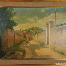 Arte: CALLE DE PUEBLO. ÓLEO SOBRE TABLA. FIRMADO J. BLANQUET. 1942. . Lote 126533943