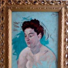 Arte: RETRATO DESNUDO MUJER JOVEN AÑOS 30, ÓLEO SOBRE LIENZO ART DECO, MODERNISTA, ART NOUVEAU, ART NOVEAU. Lote 126554508