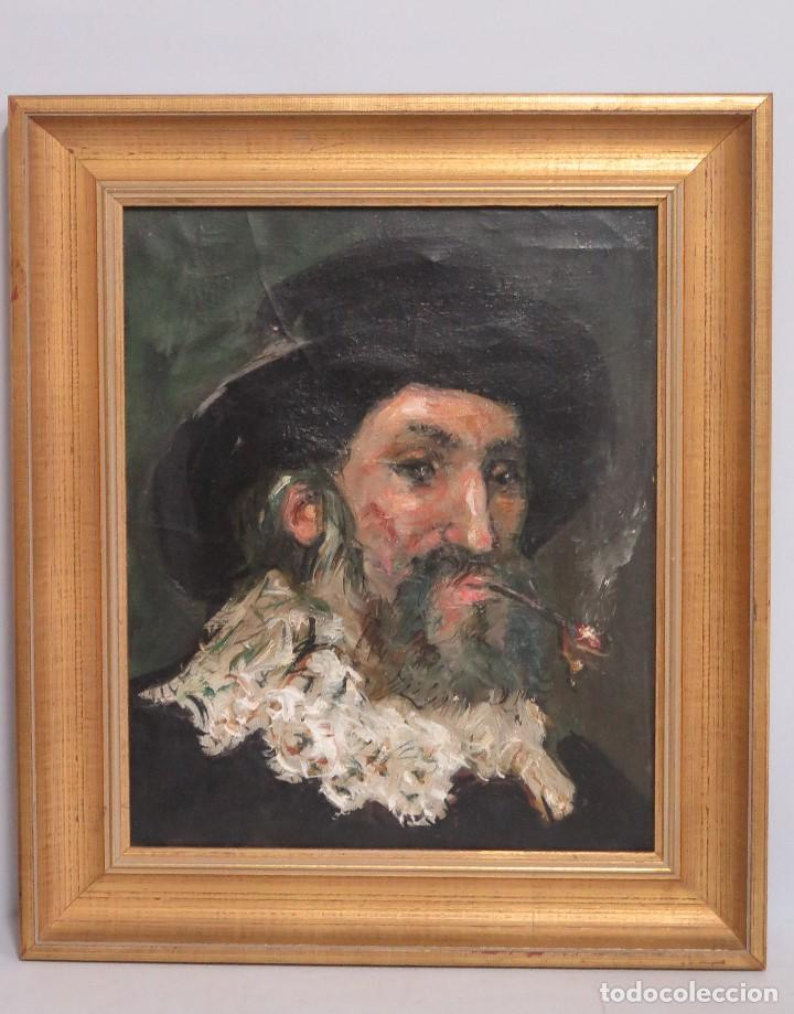 RETRATO. HOMBRE FLAMENCO CON PIPA. OLEO S/ LIENZO (Arte - Pintura - Pintura al Óleo Contemporánea )