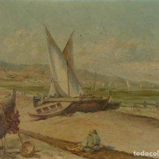 Arte: JOAQUIN PURSALS FORMENT (1870-1942) ÓLEO SOBRE LIENZO PUERTO PAISAJE COSTA CON BARCAS FIRMADO. Lote 126582687