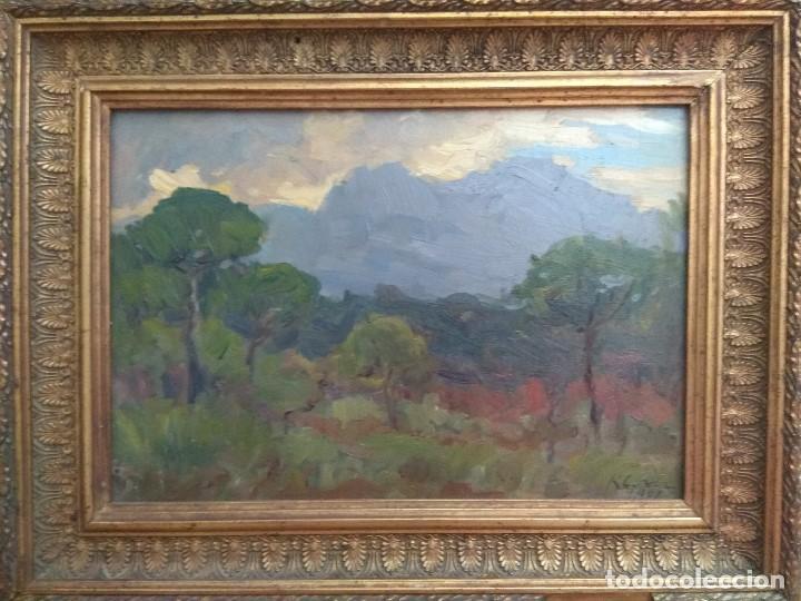 CUADRO OLEO SOBRE TABLA ANTIGUO FIRMADO CORTES 1946 MARCO DORADO ESCUELA CATALANA TITULO MONSERRAT (Arte - Pintura - Pintura al Óleo Antigua sin fecha definida)
