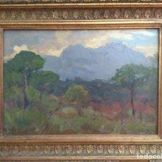 Arte: CUADRO OLEO SOBRE TABLA ANTIGUO FIRMADO CORTES 1946 MARCO DORADO ESCUELA CATALANA TITULO MONSERRAT. Lote 126785255
