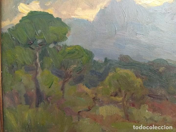 Arte: CUADRO OLEO SOBRE TABLA ANTIGUO FIRMADO CORTES 1946 MARCO DORADO ESCUELA CATALANA TITULO MONSERRAT - Foto 3 - 126785255