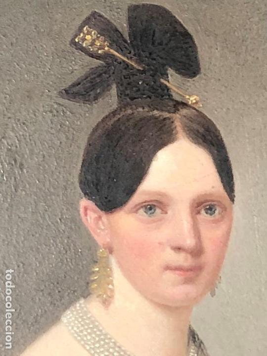 Kunst: miniatura ferrotipo pintado joven con peinado flecha ave perlas estuche origen no firma calidad 8x7c - Foto 3 - 126805419